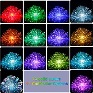 14 Colors String Lights 66ft 200 LED Ultra Thin Rope Lights Plug in Waterproof Outdoor/Indoor Starry String Lights Multi Color Changing, Fairy Lights with Remote for Christmas Wedding Room