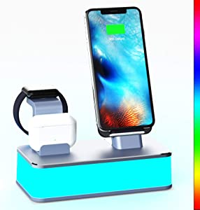 Wireless Charger,[2020 Upgraded] VMEI 7 in 1 Wireless Charging Station Compatible with iWatch, AirPods Pro,iPhone,Galaxy Phone.with Table Lamp for Bedroom, Living Room,Office.USB C Charger(Gray)