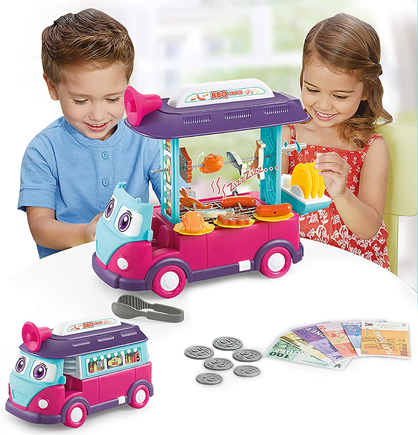 EylbKey BBQ Toy Cart Food Cart Play Set for Kids, Pretend Play Food Truck Set with Light and Sounds for Girls and Boys - Blue Red