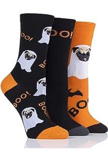 Ladies 3 Pair SockShop Wild Feet Ghost Pug Cotton Trainer Socks