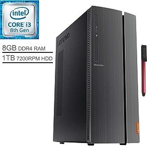 Lenovo IdeaCentre 510A Desktop Computer_ Intel Quad-Core i3-8100 3.6GHz (Beats i5-7500)_ 8GB DDR4 RAM_ 1TB 7200RPM HDD_ DVDRW_ 802.11AC WiFi_ 7-in-1 Card Reader_ Windows 10_ BROAGE 64GB Flash Drive
