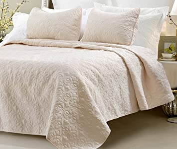 Oversized   3 Piece 100% Cotton Quilted Coverlet Set   Ivory   Full/Queen