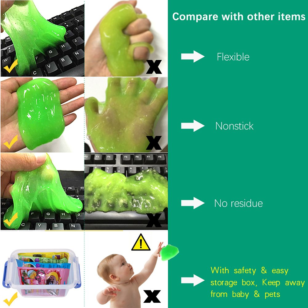 ieGeek Magic PC Laptop Computer Keyboard Cleaner Set (4 Pack + Storage Box) - Super Keyboard Cleaning Silica Gel Gummy Cleaners for Electronics by ieGeek (Image #7)