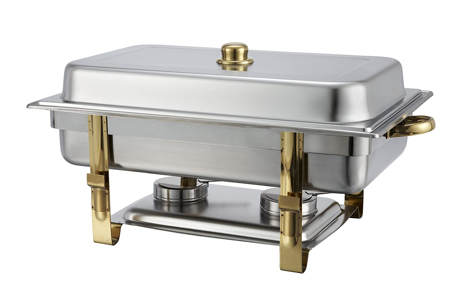 Winware 8 Quart Stainless Steel Gold Accented Chafer