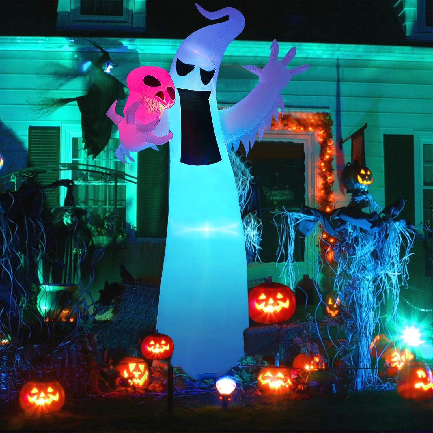 Lawn Decorations Garden Yard Outdoor 12 Ft Halloween Inflatables Ghost with Skull Blow Up Party Decorations with Color Changing LEDs for Halloween Party Indoor