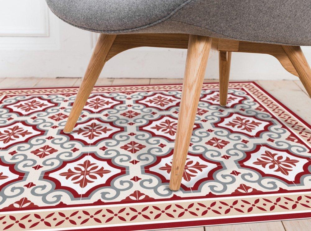 Red and grey tiles PVC mat. vinyl mat. kitchen rug, doormat - Art Mat printed PVC carpet