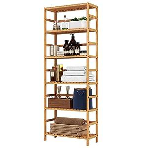 Homfa Bamboo Shelf 6 Tier, 63.4 Inches Height Free Standing Bookshelf Plant Flower Stand Rack Bathroom Storage Tower, Multipurpose Utility Organizer Shelf 100% Nature