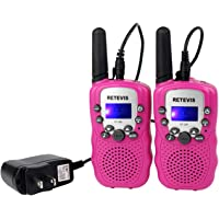 Retevis RT-388 Kids Walkie Talkie Rechargeable Long Range Two Way Radio 22 CH Handheld Radio Children Walkie Talkies with VOX Scan for Outdoors and Indoors (Pink,1 Pair)