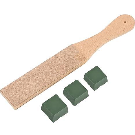 Kit de Asentador de Cuero DIY de 4 Piezas, Suavizador de Doble Cara de Madera de 1,65 Pulgadas de Ancho con 3 Piezas 1,06 Oz de Compuestos de Pulido
