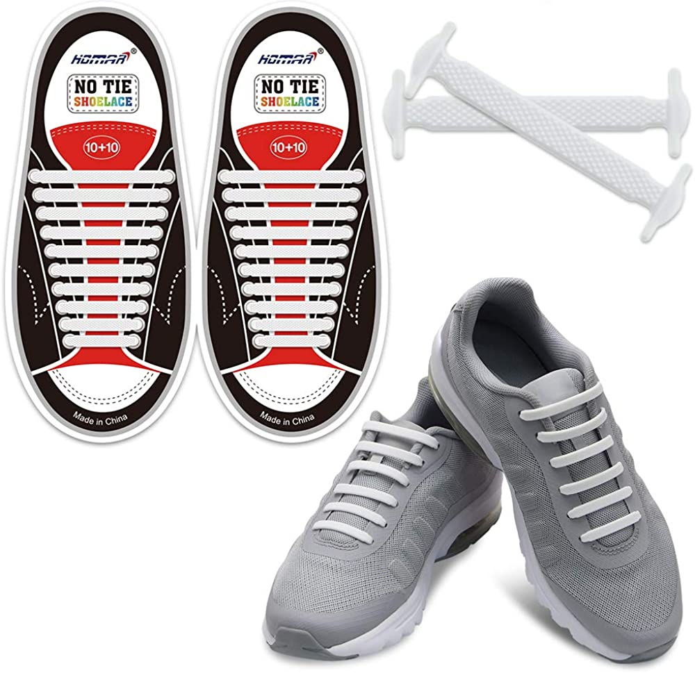 HOMAR No Tie Shoelaces for Kids and Adults - Best in Sports Fan Shoelaces - Stretch Silicone Elastic No Tie Shoe Laces with Multicolor for Sneaker Boots Board Shoes and Casual Shoes : Clothing