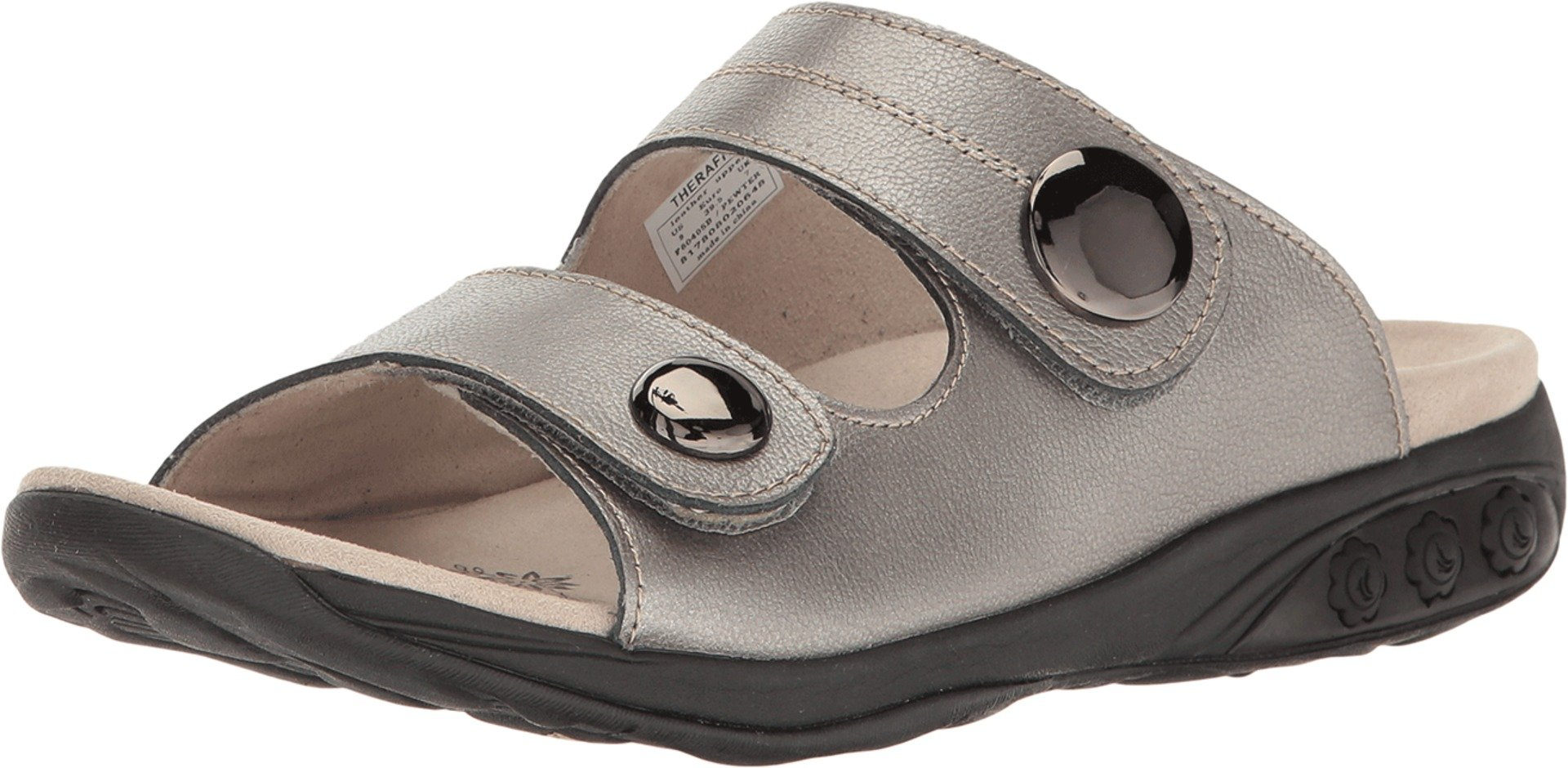 Therafit Eva Women's Leather Adjustable Strap Slip on Sandal - Pewter, Size 8 - for Plantar Fasciitis/Foot Pain