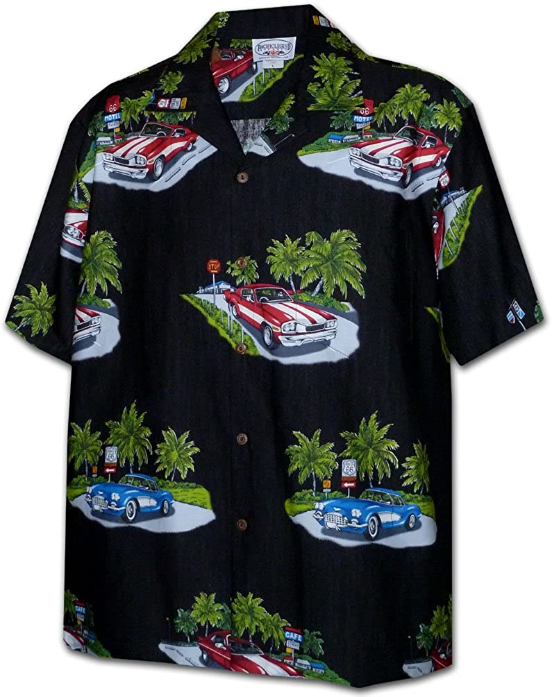 Motorcycles Pacific Legend Vintage Cars and Planes Apparel Hawaiian Aloha Shirt