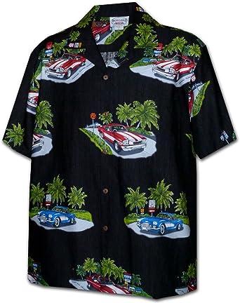 26a5990a Hawaiian Aloha Shirt The 50's Vintage Cars Black (Made in Hawaii) at Amazon  Men's Clothing store: