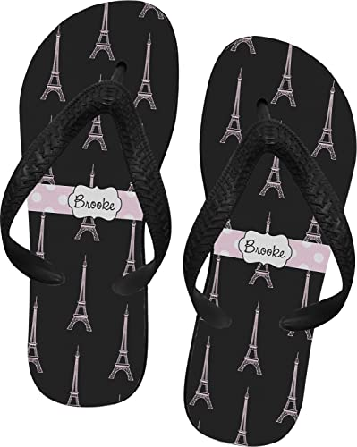 934deb056 RNK Shops Black Eiffel Tower Flip Flops - XSmall (Personalized)