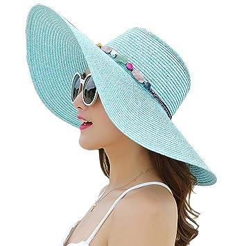 49884671bf2 HSRG Hats Floppy Sun Hat Foldable Wide Brim Adjustable Beach Straw  Accessories Cap UPF 50+