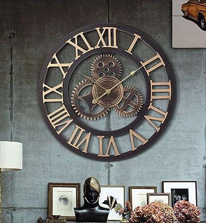 CAIJUN Engranaje Reloj De Pared Retro Viento Industrial Metope Tienda Calado Fondo Mural Relojes Diámetro 50