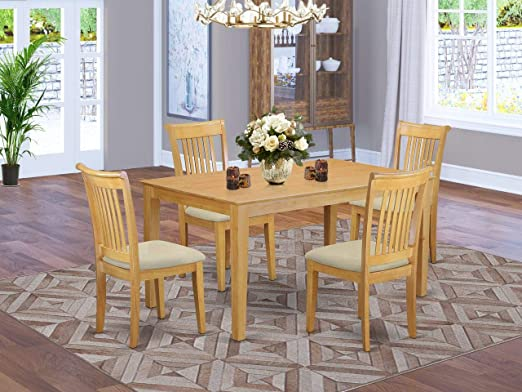 Amazon Com East West Furniture Capo5 Oak C Dining Room Table Set 5 Pieces Linen Fabric Dining Chairs Seat Oak Finish Small Rectangular Dining Table And Body Furniture Decor