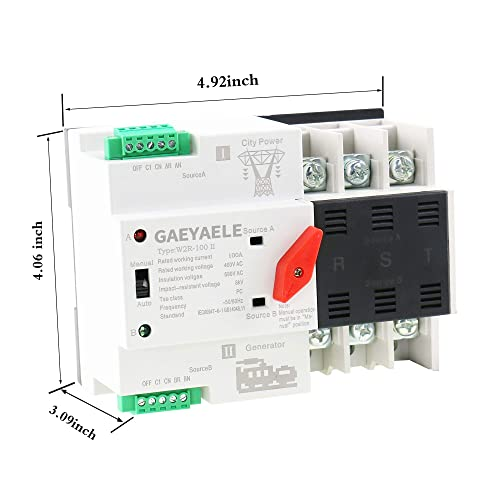 GAEYAELE W2R-3P Din Rail Mounted Automatic Transfer Switch Three Phase ATS 100A Power Transfer Switch W2R 3P 100A