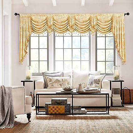 Amazon.com: elkca Custom Made Valance for Living Room Golden ...