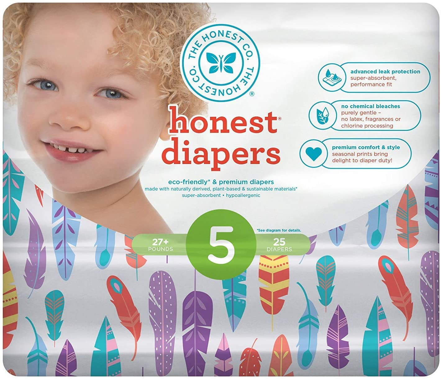 The Honest Company Honest Disposable Baby Diapers, Painted Feathers, Size 5, 25 Count