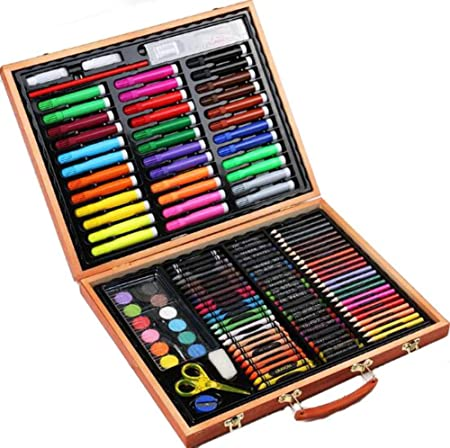 Set de arte para niños, set de pintura con pincel para 150 niños, acuarela, crayones, pasteles al óleo, herramientas de arte de la escuela primaria: Amazon.es: Hogar