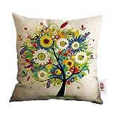 Nunubee Cotton Linen Home Decor Throw Sofa Car Cushion Cover Pillow Case Tree 3
