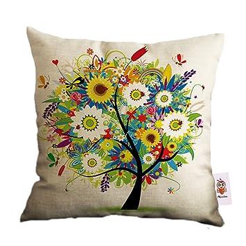 Nunubee Cotton Linen Home Decor Throw Sofa Car Cushion Cover