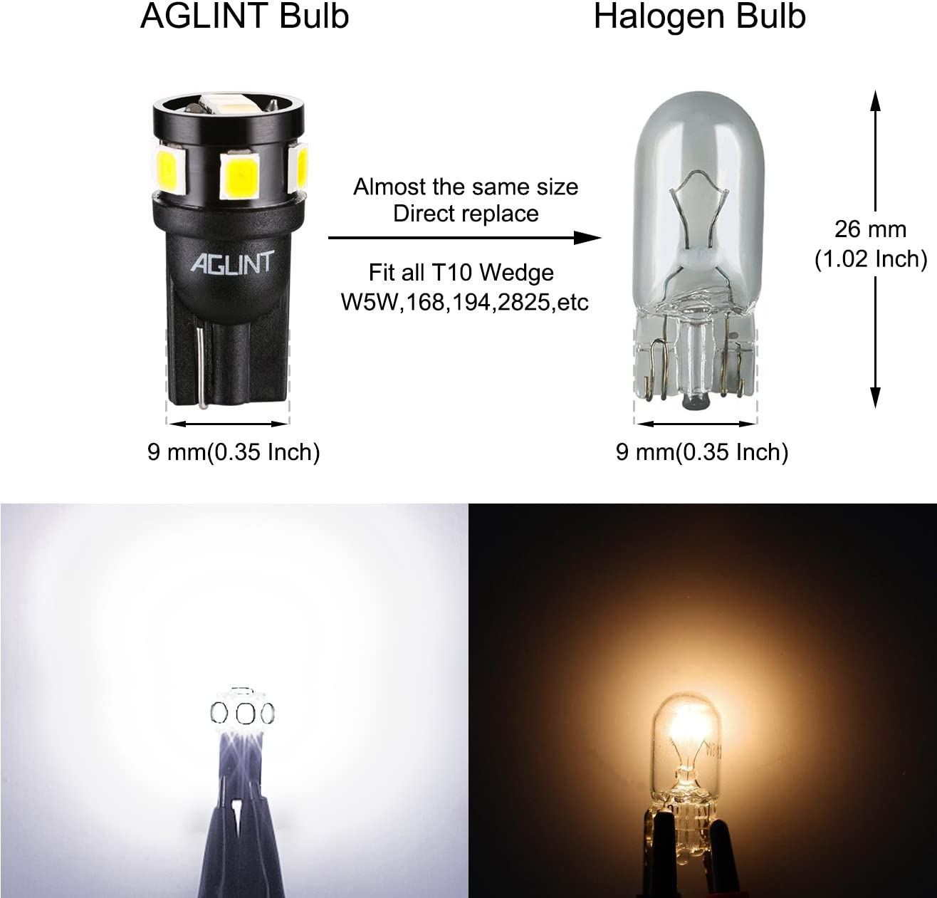 AGLINT 10 Pack T10 LED Bulbs With CANBUS for Car LED Position Light Interior Dome Map Side Light Courtesy Trunk License Plate Light W5W 194 168 2825 Wedge Bulb White