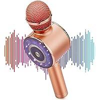 Micrófono de Karaoke Inalámbrico, 4 en 1Micrófono Bluetooth con Altavoz y LED, Portátil con Función Selfie y Eco…