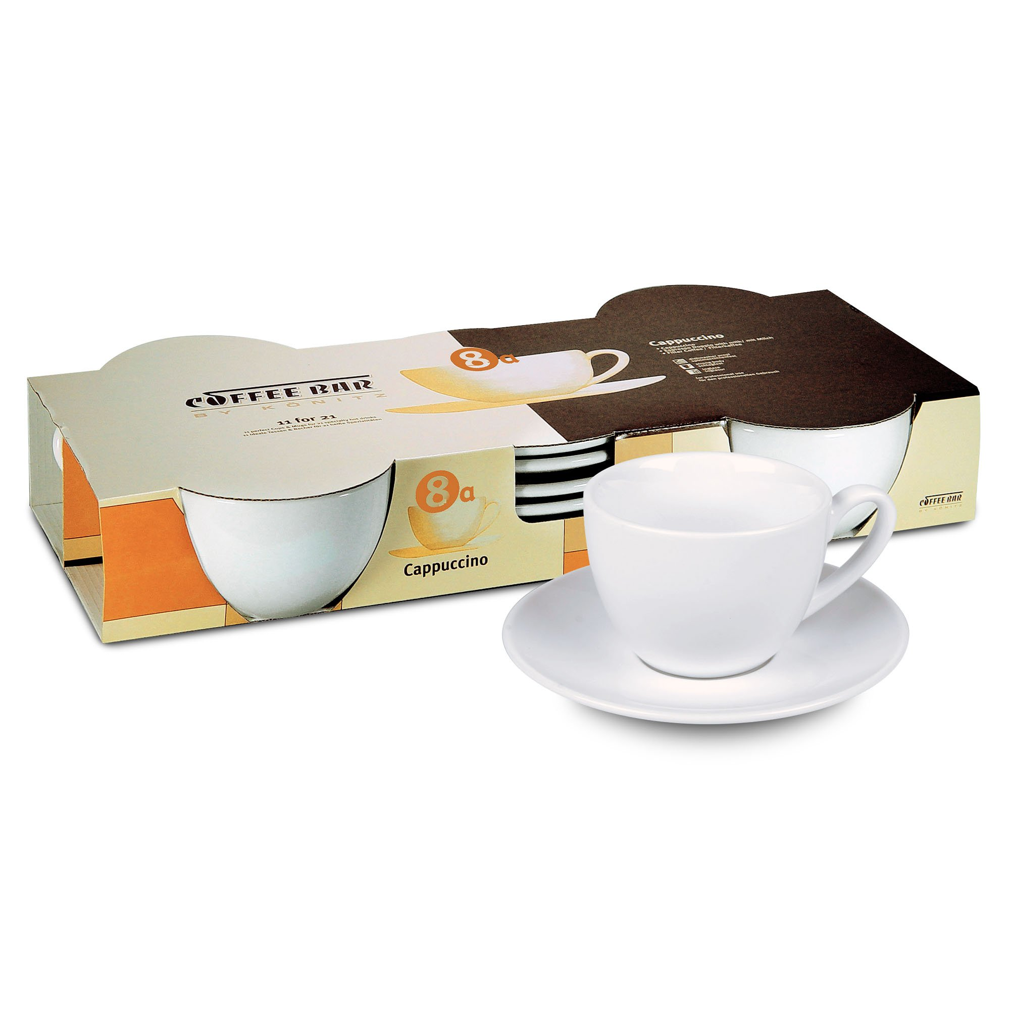 Konitz Coffee Bar Coffee Cups and Saucers, 7-Ounce, White, Set of 4