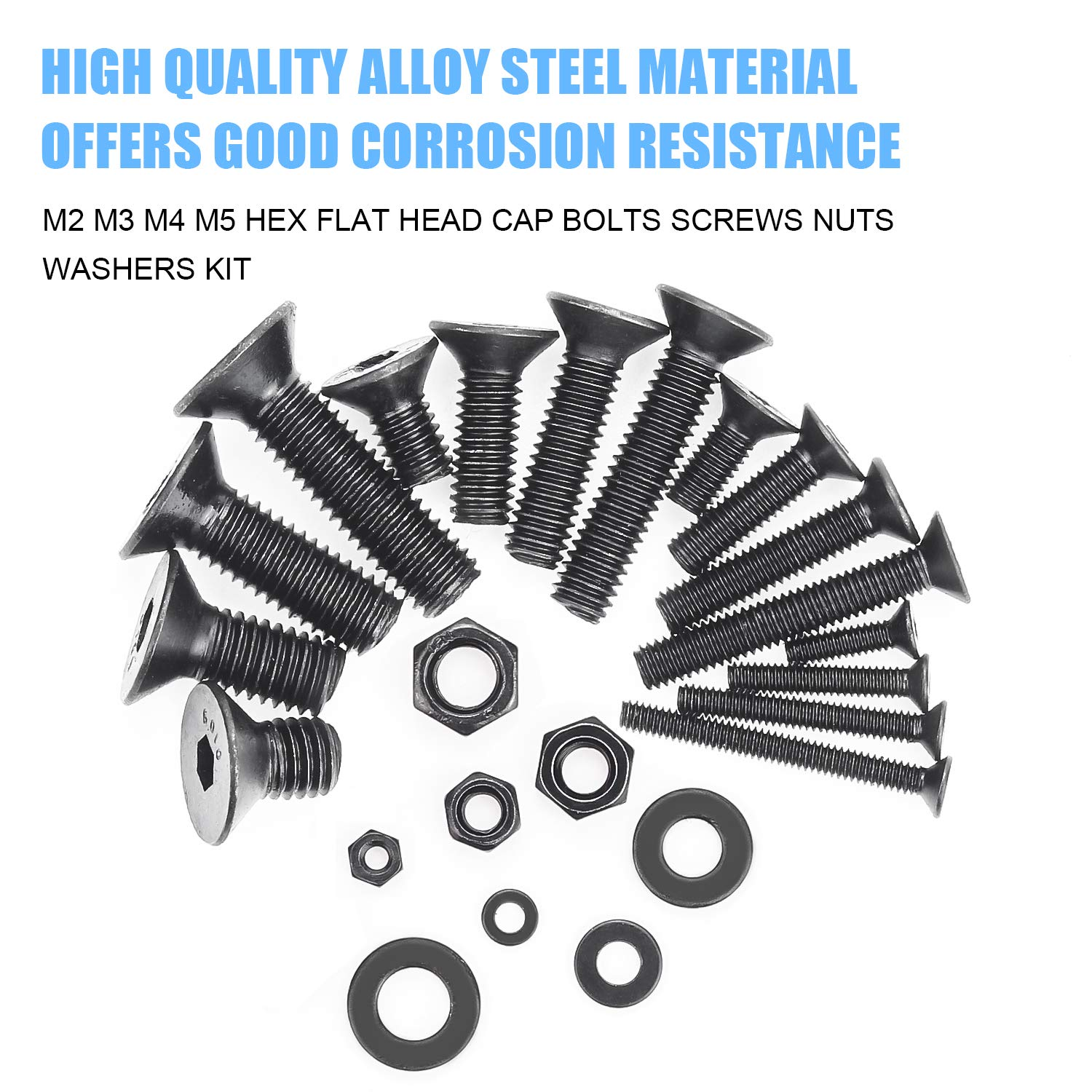 DYWISHKEY 1220 Pieces M2 M3 M4 M5 10.9 Grade Alloy Steel Hex Flat Head Cap Bolts Nuts Washers Assortment Kit with Hex Wrenches