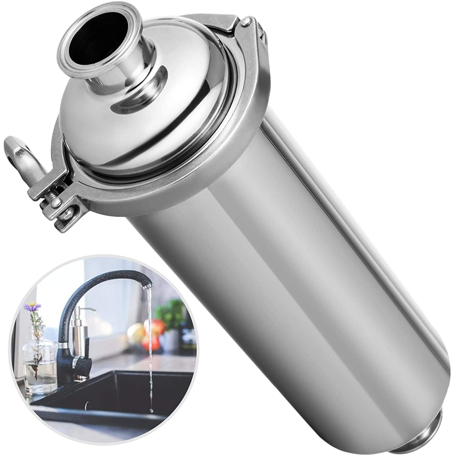 """Patiolife Inline Strainer SS304 Filter 1.5"""" Tri Clamp Filter with 100 Mesh Stainless Steel Screen & Stainless Steel Ferrule for Homebrewing & Water Straining & Milk Filtering"""