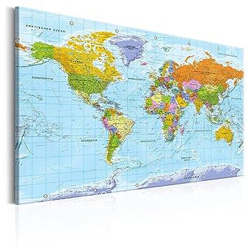Decomonkey | 120x80 Cm Politische Weltkarte Deutsch | Pinnwand | Leinwand  Bilder | Landkarte Welt Kontinetne