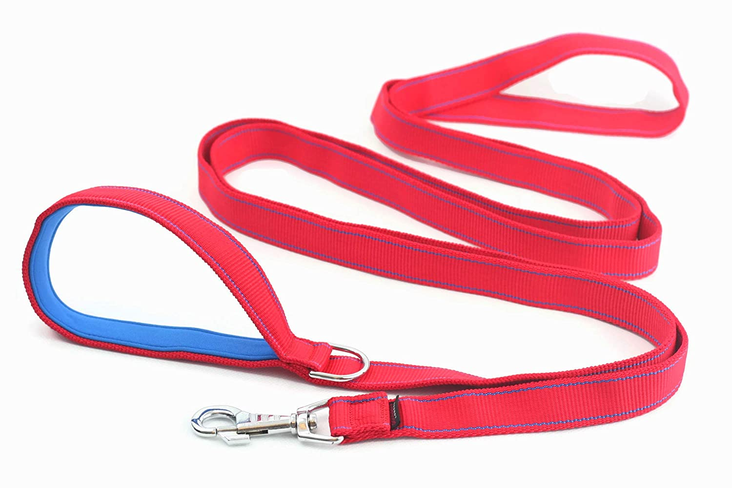 3m DOG LEAD LONG 300cm 118in STRONG LEASH for dog with a SOFT HANDLE, NEOPRENE PADDING VERY PLEASANT TO THE TOUCH, HI QUALITY Hand Made GENUINE DogDirect London NEO (Red-bluee) 3N6