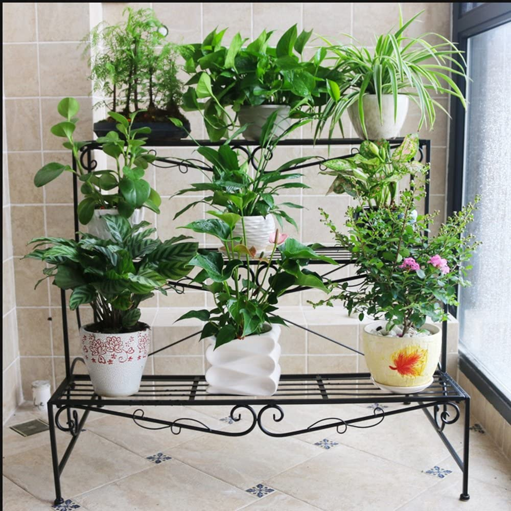 Flor de hierro de estilo europeo estantes de flores de varios pisos maceteros escalera de flores balcón de tres plantas balcón (Color : Negro , Tamaño : 70*78cm) : Amazon.es: Hogar