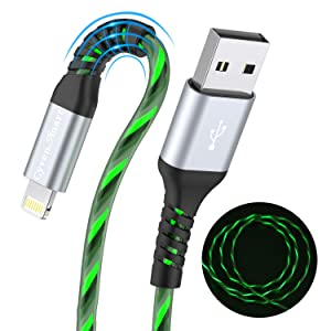 [MFi-Certified] Led iPhone Charger 6 ft, Light up Lightning Cable 6 Foot Long iPhone Charger Cord with Flashing Led Light Compatible with iPhone 11/11Pro/11Max/ X/XS/XR/XS Max/8/7/6/5S/SE