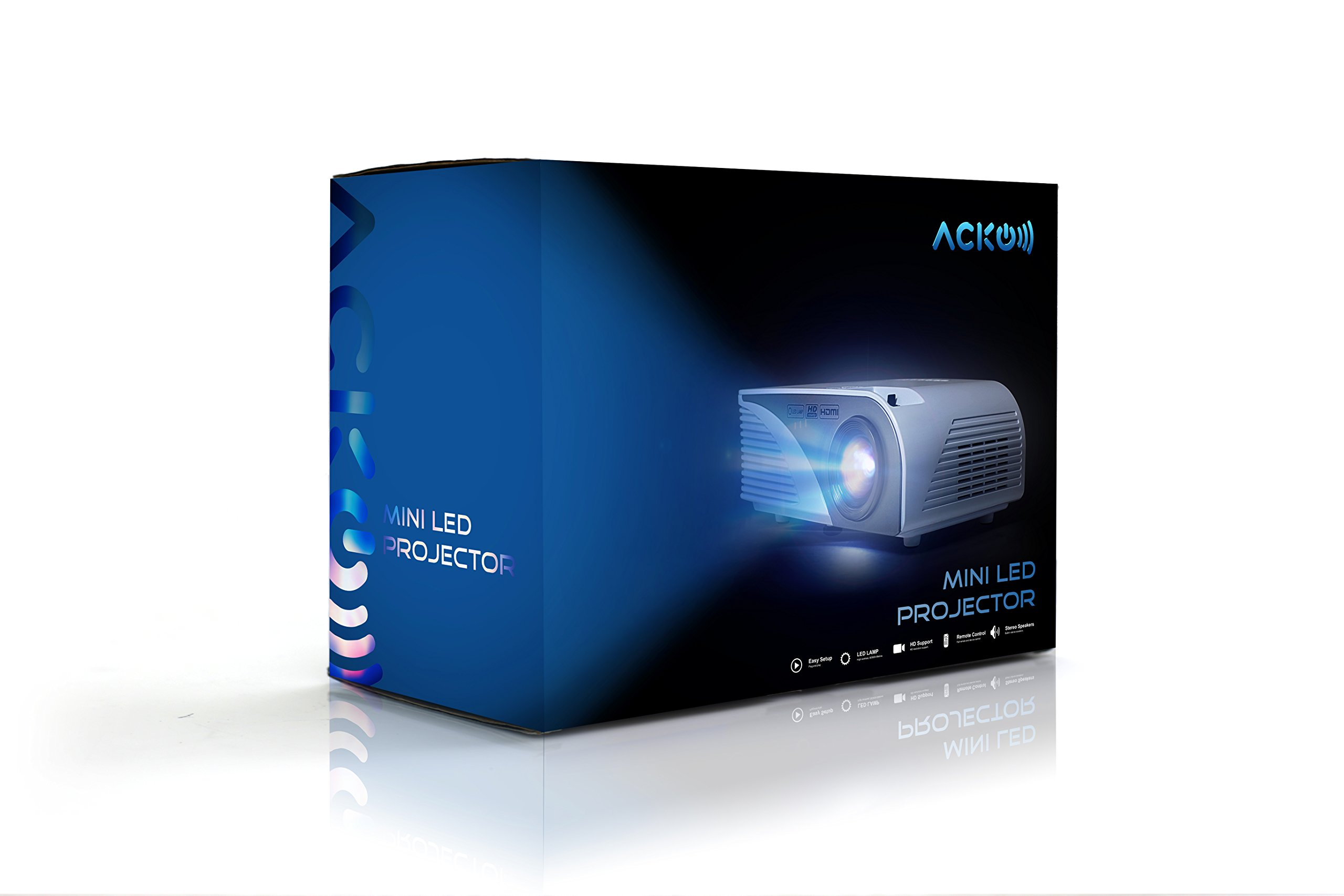 Acko Portable Mini HD LED Video Projector Office Home Theater 1200 LM Multimedia Outdoor 20''-150'' HDMI VGA USB AV SD Audio 1080P Smart Phone Tablet PC Computers Laptops White Warranty Included by EpandaHouse (Image #8)