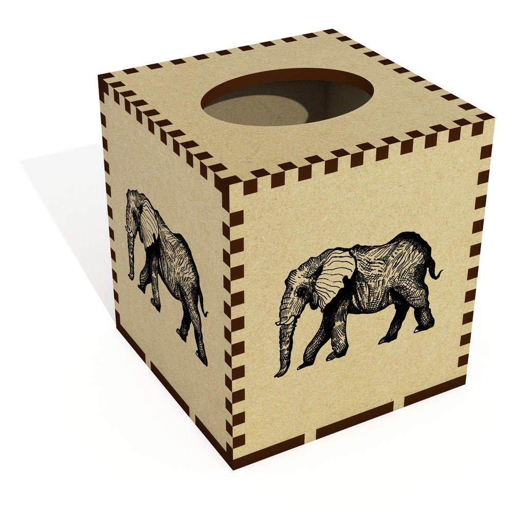 Azeeda Square 'Elephant' Wooden Tissue Box Cover (TB00010191)