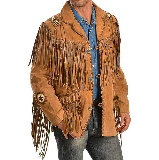 4526aa360 Spazeup Men Western Fringe Jackets Men Brown Fringe Jacket Men Cow ...