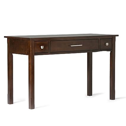 wood office desk. Simpli Home Avalon Solid Wood Office Desk, Rich Tobacco Brown Desk A
