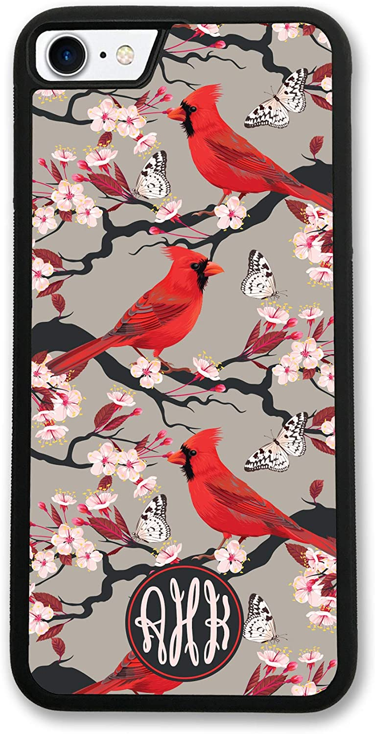 iPhone 8 Plus, Simply Customized Phone Case Compatible with iPhone 8 Plus [5.5 inch] Cherry Tree Cardinals Monogram Monogrammed Personalized IP8P
