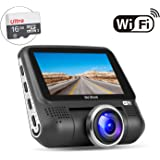 """OldShark G15 Dash Cam with WiFi (Free 16GB SD Card),1080P Full HD In Car DVR 220 Degree Wide Angle 3"""" LCD Dashboard Camera,Sony Sensor Car Driving Video Recorder with G-Sensor, Night Vision,WDR"""