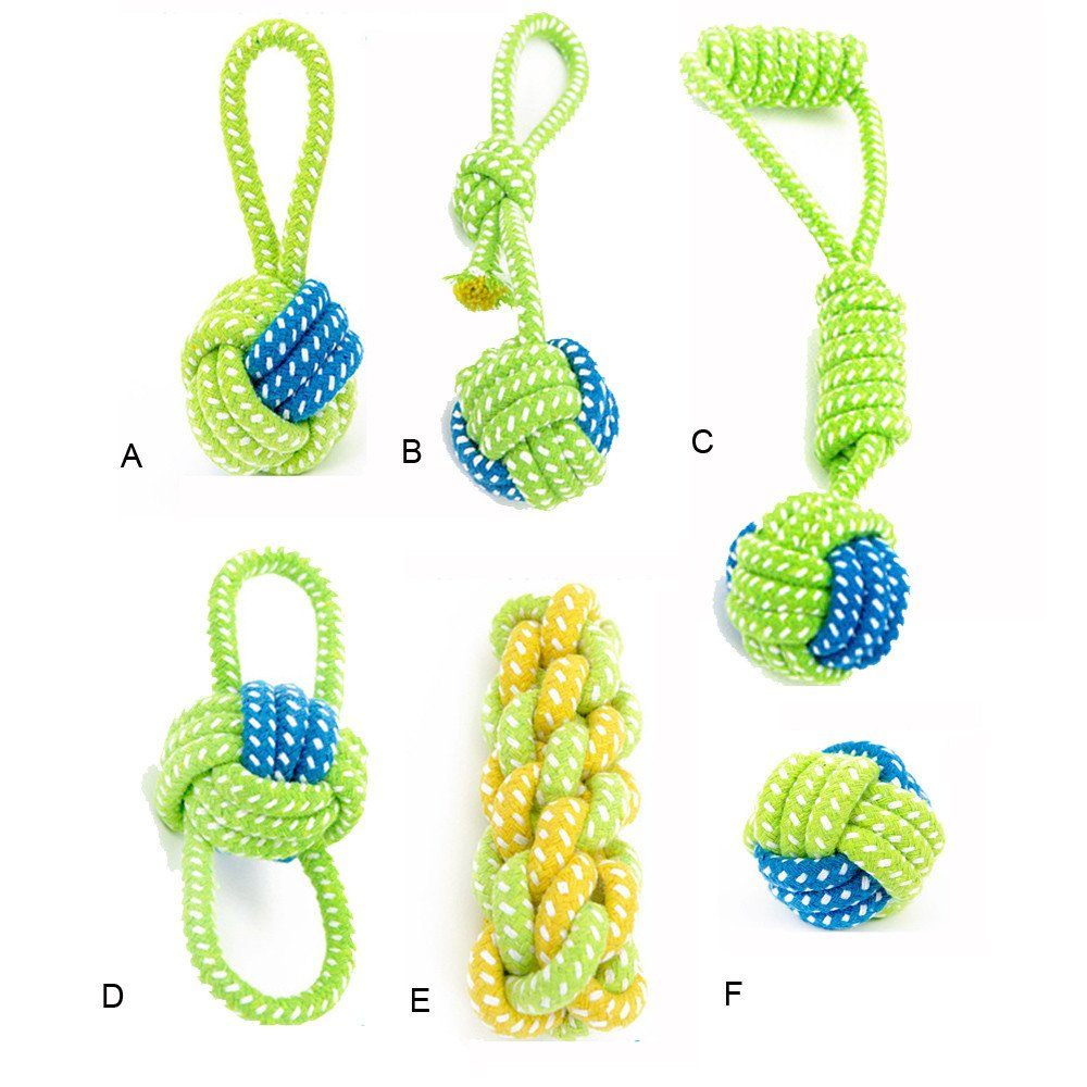 FTXJ Dog Toy Dog Chews Cotton Rope Knot Ball Grinding Teeth odontoprisis Pet Toys Lar (Green D)