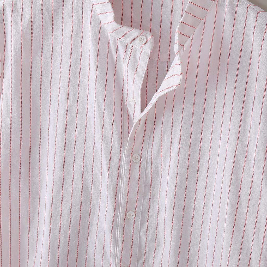 Mens Short Sleeve Stripe Button Down Casual Work Shirts Slim-fit Beachwear Poplin Shirt Slim Fit Dress Shirt