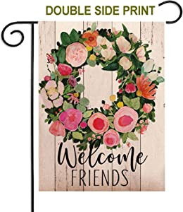 ZUEXT Welcome Friends Watercolor Flowers Colorful Design Double Sided Print House Flag Garden Banner 12.5x18 Inch, Spring Flower Garden Flags for Anniversary Yard Outdoor Decoration Housewarming Gift