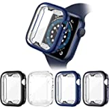 Liwin 4-Pack Case with Screen Protector Compatible with Apple Watch SE/Series 6/Series 5/Series 4 44mm, Soft TPU Clear Full C