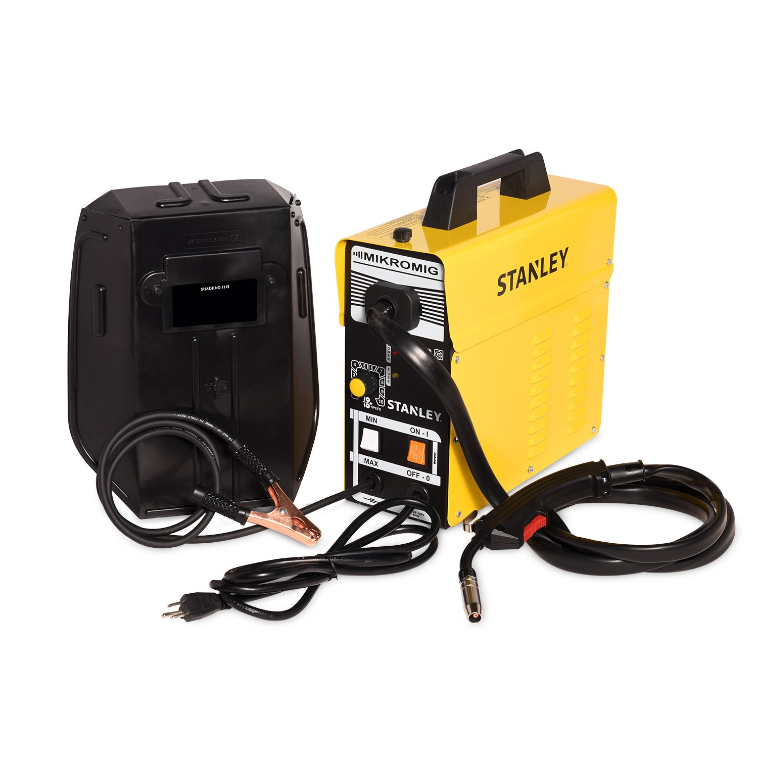 "Stanley 120V MIKROMIG Welding Machine – Portable 80-Amp Flux-Cored Mild Steel Welder for Home & Professional Use – 14.4"" x 5.5"" x 14.2"" by Stanley"