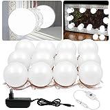 Binen Luces de espejo estilo vanidad de Hollywood Style Luces de tocador, luces LED de espejo con fuente de alimentación y interruptor de atenuación táctil, 12 bombillas LED (espejo no incluido)