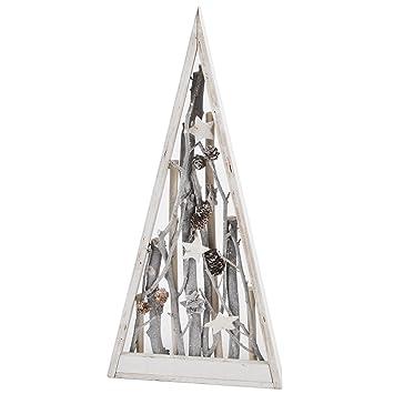 Xmas Deko Weihnachtsbaum.Dadeldo Weihnachtsbaum Xmas Natur Deko Objekt Holz Weiss Grau Weihnachten 55x26x5cm