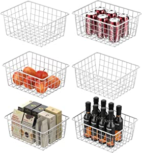 Wire Baskets, Ace Teah Metal Wire Storage Basket, Food Organizer Storage Bin for Pantry, Kitchen Cabinets, Closets, 6 Pack, White